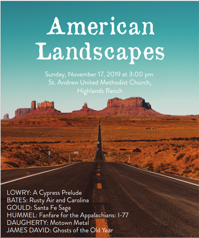 open road red rock formation and word American Landscapes